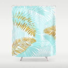 Aloha - Tropical Palm Leaves and Gold Metal Foil Leaf Garden Shower Curtain