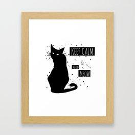 Hand drawn grange black cat Framed Art Print