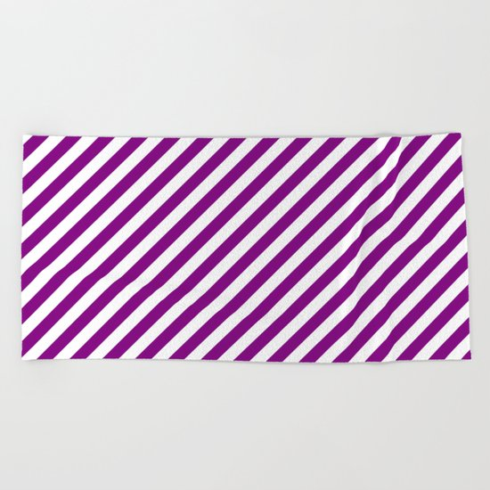 Diagonal Stripes (Purple/White) Beach Towel