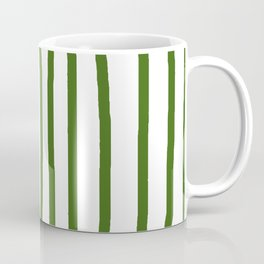 Simply Drawn Vertical Stripes in Jungle Green Coffee Mug