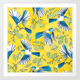 Flying Birds and Oak Leaves on Yellow Art Print