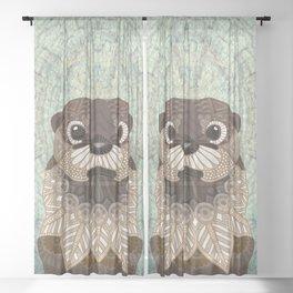 Ornate Otter Sheer Curtain