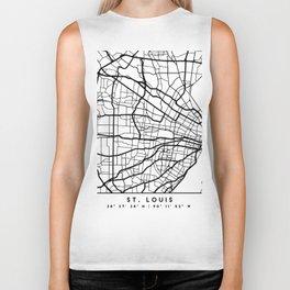 ST LOUIS MISSOURI BLACK CITY STREET MAP ART Biker Tank