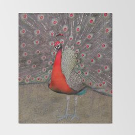 Red peacocks Throw Blanket