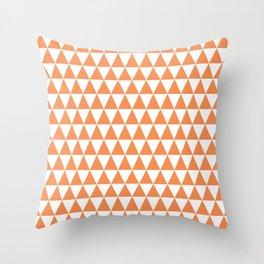Mandarin Orange and White Triangle Pattern Throw Pillow