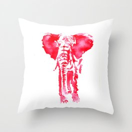 Red elephant watercolor Throw Pillow