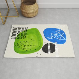 Mid Century Modern abstract Minimalist Fun Colorful Shapes Patterns Lime Green Phthalo Blue Bubbles Rug