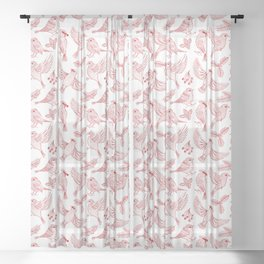 Winter Birds and Foliage Pattern (Red) Sheer Curtain