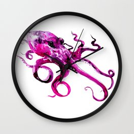 Pink Purple Octopus Wall Clock