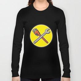 Spanner Monkey Wrench Crossed Circle Cartoon Long Sleeve T-shirt
