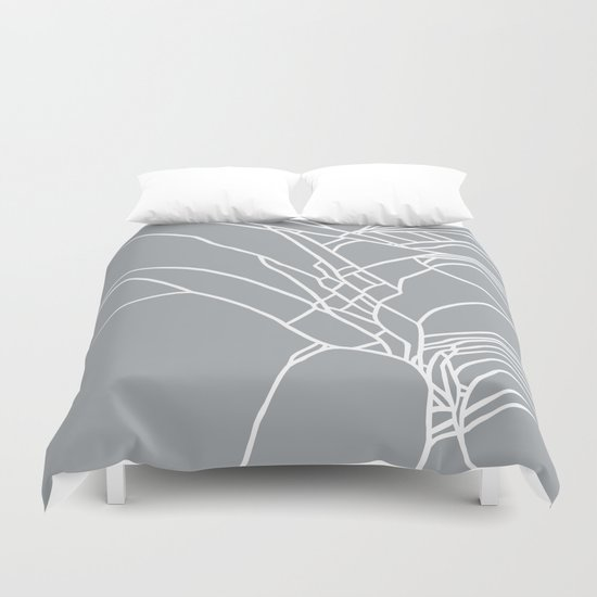 Cracked White on Grey Duvet Cover