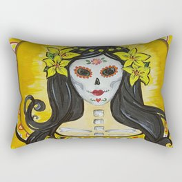 Yellow Lily art nouveau day of the dead sugar skull princess with lilies in her hair Rectangular Pillow