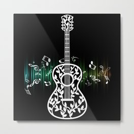 Guitar With Leaves Chord Music Artist Metal Print
