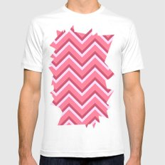 Pink Zig Zag Pattern Mens Fitted Tee White MEDIUM