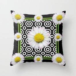 Modern Deco Style Shasta Daisies Black Art Throw Pillow