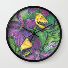Goldfinches and Purple Clematis Wall Clock