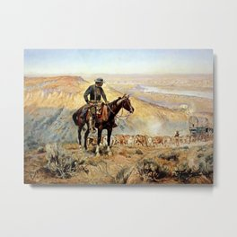 """""""The Wagon Boss"""" by Charles M Russell Metal Print"""