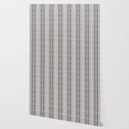 Vintage Grey White Mosaic Striped Pattern Wallpaper