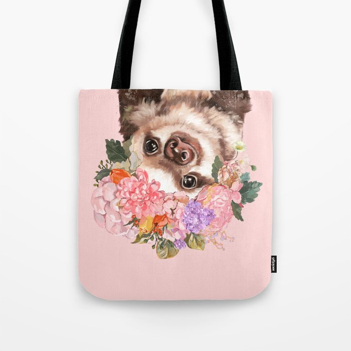 Baby Sloth with Flowers Crown in Pink Tote Bag