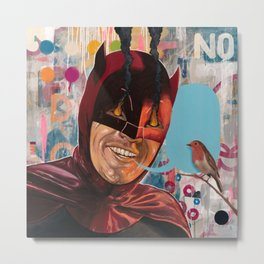 Caped Crusader by Famous When Dead Metal Print