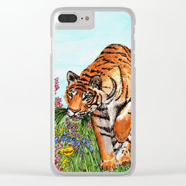 Tiger in a Perfect World Clear iPhone Case