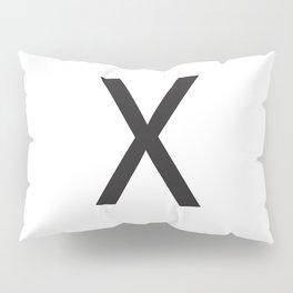 Letter X Initial Monogram - Black on White Pillow Sham