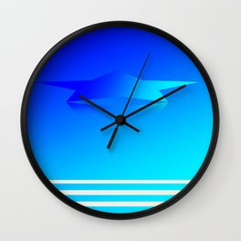 Star Flight Space Carrier - Midnight Navy Blue Turquoise Wall Clock