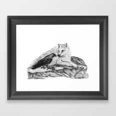 Raven and Wolf Framed Art Print