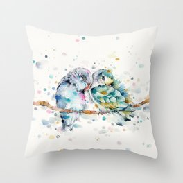 Mr & Mrs Snugglepots [pacific parrotlets] Throw Pillow