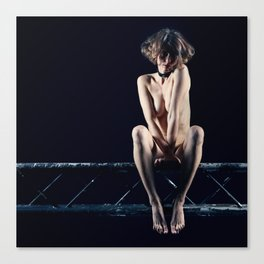 Woman nude on a Stage truss Canvas Print