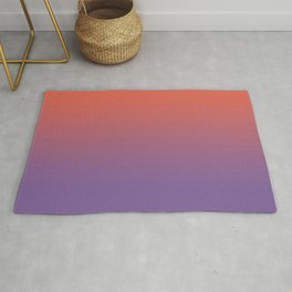 Pantone Living Coral & Chive Blossom Purple Gradient Ombre Blend, Soft Horizontal Line Rug