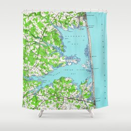 Vintage Rehoboth & Bethany Beach DE Map (1938) Shower Curtain