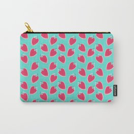 Pink & Blue Strawberries Carry-All Pouch