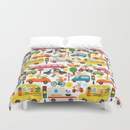 Busy City Zoo Animal Transportation Pattern Duvet Cover