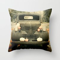 truck Throw Pillows featuring Pumpkin Truck by Toothpick Images