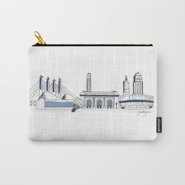 Kansas City Skyline Illustration in Sporting KC Colors Carry-All Pouch