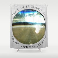 vintage camera Shower Curtains featuring Vintage Camera by The Wellington Boot