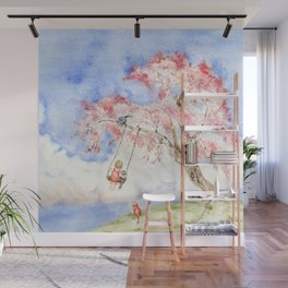 Girl on a Sakura Tree Swing with Cats Wall Mural