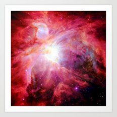 Orion nebulA. : Colorful Red Art Print