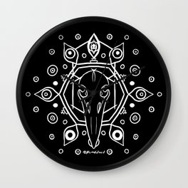 Raven Skull (All-Seeing) - White Wall Clock