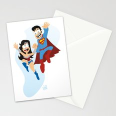 couple dressed as heroes. Stationery Cards
