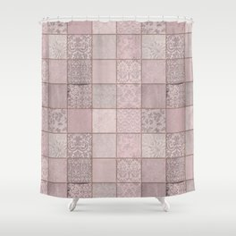 Romantic Pink Damask Patchwork Pattern Shower Curtain