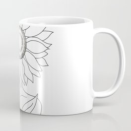 Minimalistic Line Art of Woman with Sunflower Coffee Mug