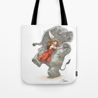 bouletcorp Tote Bags featuring Elephant Hug by Bouletcorp