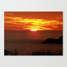 Flaming Skies Across the Sea Canvas Print