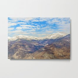 Alpes Mountains Aerial View Piamonte District Italy Metal Print