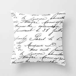 Antique French Script Throw Pillow