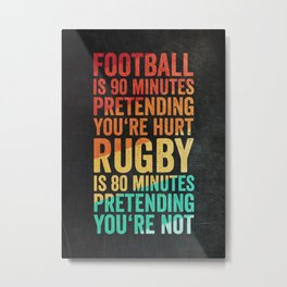 Funny Rugby Design Metal Print