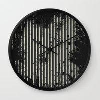 stripe Wall Clocks featuring Stripe by Ronda Bröc