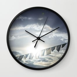 Prayer Flags at Sunset Wall Clock
